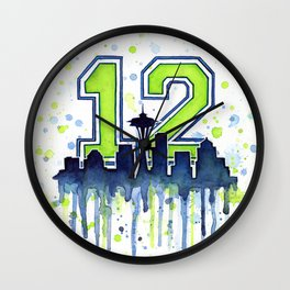 Seattle 12th Man Art Seattle Skyline Space Needle Wall Clock