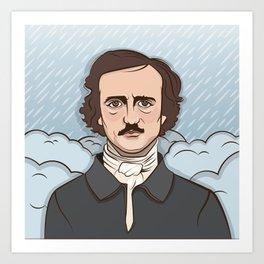 Poe in the Rain Art Print