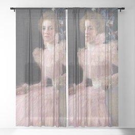 Gustav Klimt - Woman in Pink Sheer Curtain