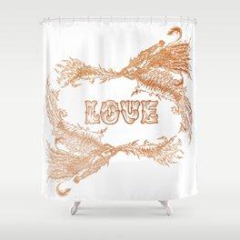 Love Rising in Copper Shower Curtain