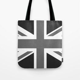 UK Flag, High Quality in grayscale Tote Bag