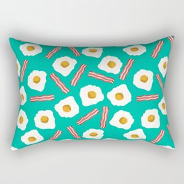 eggs and bacon breakfast food fight apparel and gifts teal Rectangular Pillow