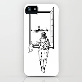 Salvador Dali Girll At A Window, 1925 Sketch Artwork Reproduction, Design, Tshirts, Posters, Jerseys iPhone Case