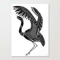 crane Canvas Prints featuring Crane by By Stine Lee