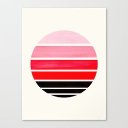 Red Mid Century Modern Minimalist Circle Round Photo Staggered Sunset Geometric Stripe Design Canvas Print