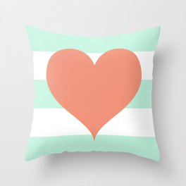 Large Heart on Stripes in Coral and Mint Throw Pillow