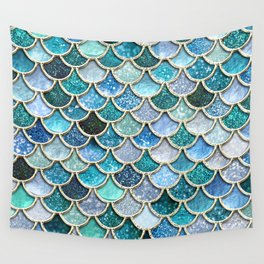 Multicolor Aqua Mermaid Scales - Beautiful Abstract Glitter Pattern Wall Tapestry