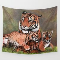 tigers Wall Tapestries featuring Family of tigers by Savousepate