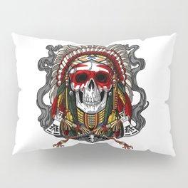 Native American Skull Indian Chief Headdress Pillow Sham