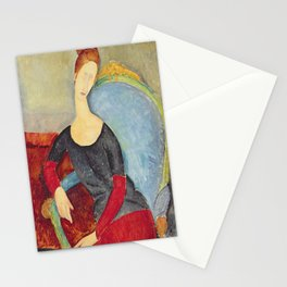 Amedeo Modigliani - Mme Hebuterne In A Blue Chair Stationery Cards