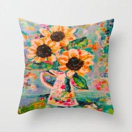 Sunflowers after the rain Throw Pillow