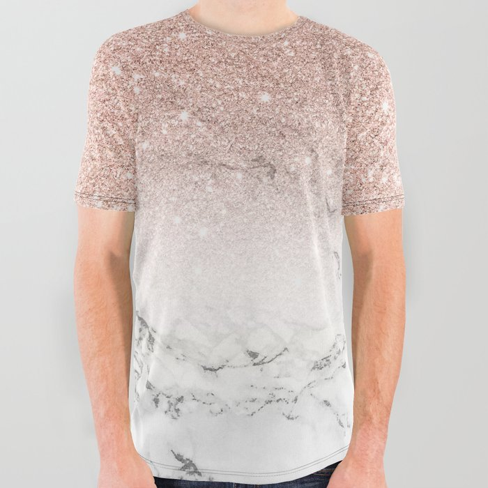 Modern_faux_rose_gold_pink_glitter_ombre_white_marble_All_Over_Graphic_Tee_by_Girly_Trend__Small