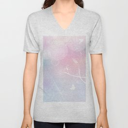 floral background with flowers, leaves, bird and branches of blooming tree. Stylized garden in tints Unisex V-Neck