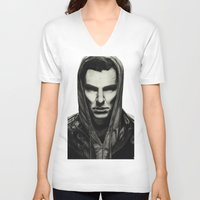 benedict V-neck T-shirts featuring Benedict Cumberbatch by Charlotte Hussey