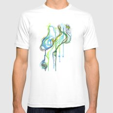 Aqua Trickle SMALL Mens Fitted Tee White