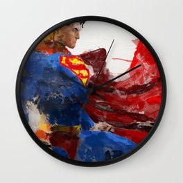 Watercolour Superman Wall Clock