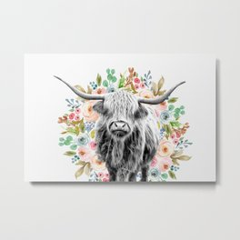 Cutest Highland Cow With Flowers Metal Print
