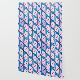 Pink Blue Geometric Triangle Pattern Wallpaper