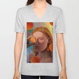 Orange Looking Glass Unisex V-Neck