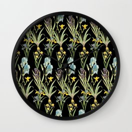 Vintage Floral Pattern | No. 2A | Iris Flowers | Irises Wall Clock