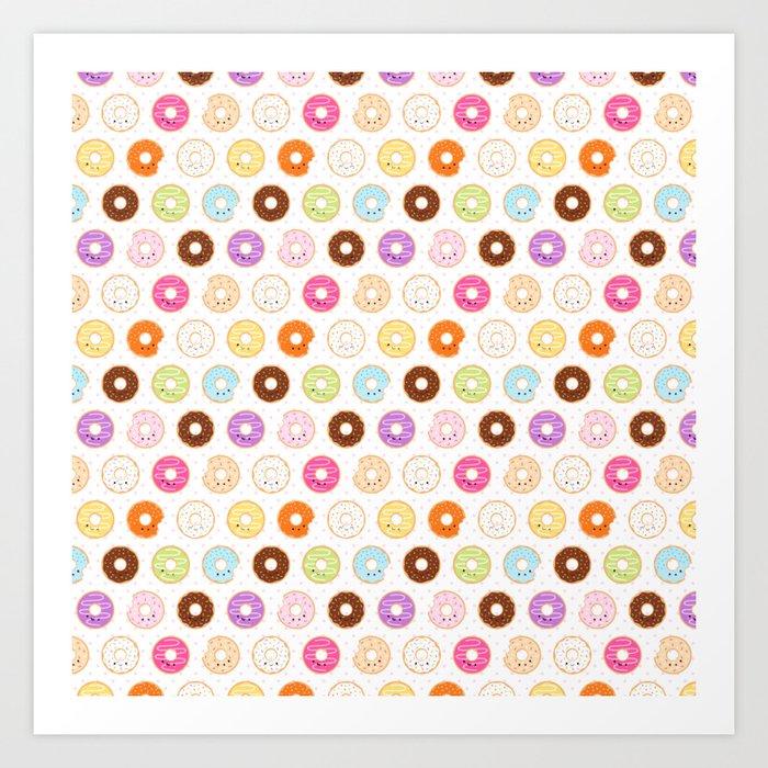 Happy Cute Donuts Pattern Art Print