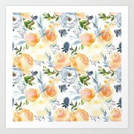 Blush gray orange watercolor hand painted floral Art Print