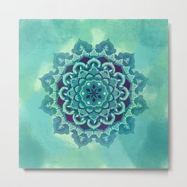 Green Blue Mandala Design Metal Print