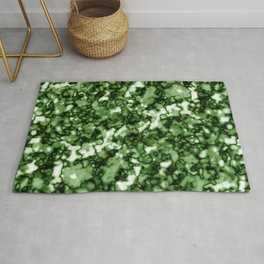 A pastel cluster of green bodies on a light background. Rug