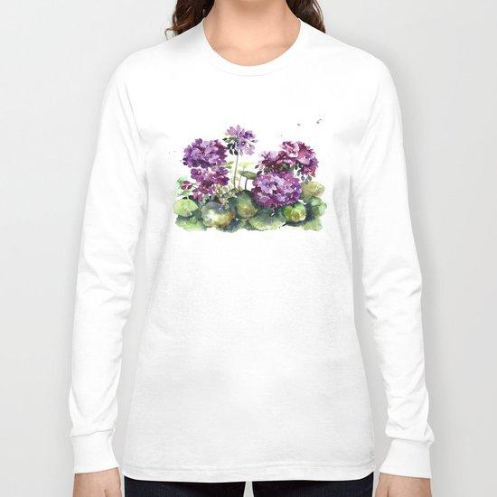 Purple violet pelargonium geranium flowers watercolor Long Sleeve T-shirt