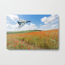 Avro Vulcan B2 bomber over a field of red poppies Metal Print