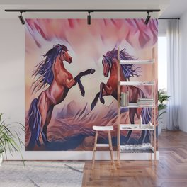 Wild Stallions Playing Wall Mural