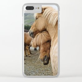 Horses Cuddling in Iceland Clear iPhone Case