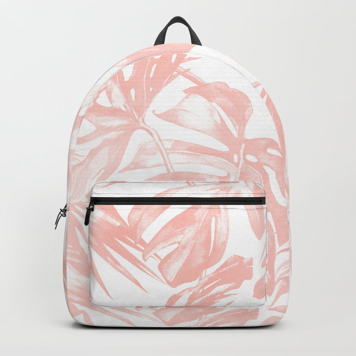 Pink Tropical Palm Leaves Backpack