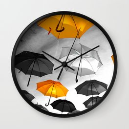 Yellow  is my color - Yellow and Black Umbrellas Wall Clock