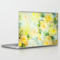 shabby chic Laptop & iPad Skins featuring Shabby Chic Yellow by Jacqueline Maldonado