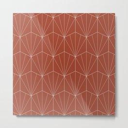 Gisela Geometric Line Pattern - Pomegranate Red Metal Print