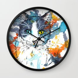 In your Eyes - Colorful cat portrait Wall Clock