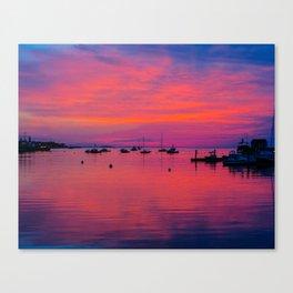 """Rockland Harbor:  Hot Pink & Purple"" Canvas Print"