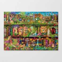 The Secret Garden Book Shelf Canvas Print