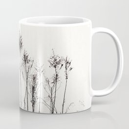 Dried Tall Plants and Flying White Birds Coffee Mug