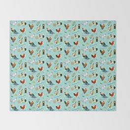 Cute seamless roosters pattern cartoon Throw Blanket