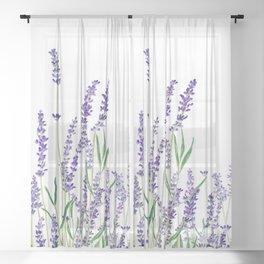 lavender watercolor horizontal Sheer Curtain