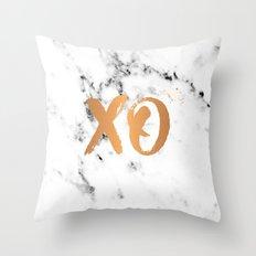 XO copper on marble Throw Pillow