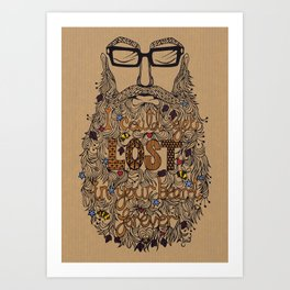 Lost In Your Beard Hand-Cut Papercut Art Print