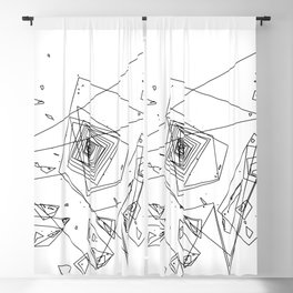 Mountain Vertices, Mt. Hood, Black Geometric Blackout Curtain