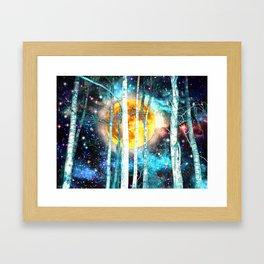 Night Birch Forest Framed Art Print
