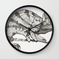 chameleon Wall Clocks featuring Chameleon by Pris Roos