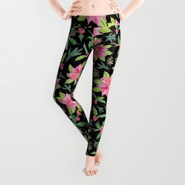 Holiday Poinsettias and Mistletoes with Black Backdrop Leggings
