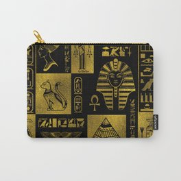 Egyptian  Gold hieroglyphs and symbols collage Carry-All Pouch