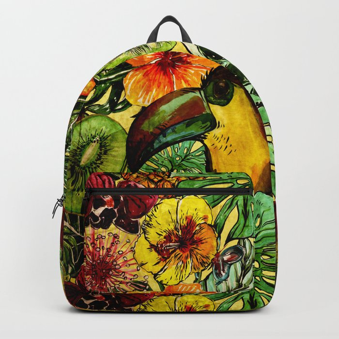 Tropical Vintage Exotic Jungle Flower Flowers - Floral watercolor pattern on #Society6 Backpack